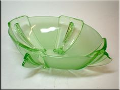 Vintage 1930 Painted Green Bagley Art Deco Frosted Glass Somerset Posy Bowl 3170 Modern And Elegant In Fashion British Pottery, Porcelain & Glass