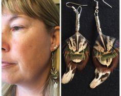 feather earrings bohemian boho festival hippie by TickleOfFeathers