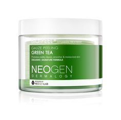 Neogen Dermalogy Bio-Peel Gauze Peeling Green Tea [Testing. The pad has two sides. The first step is the  crisscross side which feels quite gritty on the skin. It provides manual exfoliation. The second part is the honeycomb embossed padded side which gently removes dead skin cells after manual exfoliation. It has a faint fresh green tea scent. Top Tip: Use after cleansing the face on dry skin. Rinse with warm water. Follow with toner, serum, moisturizer. Use 2x/week.]
