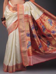 Cream-Peach Paithani Silk Gold Zari Boota Saree