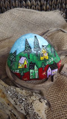 Christmas gift painted rocks folk art Australian rustic interior decoration village snow trees houses bookend bright waterproof paperweight by TheStunnerBoutique on Etsy