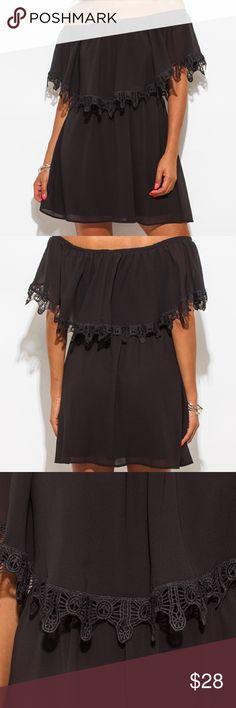 Black Crochet Boho Dress Brand new- black chiffon ruffle off the shoulder crochet trim dress. Made in USA. 100% Polyester. Loose fit. Easy to wear. Dresses Midi
