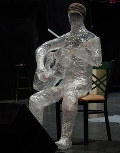 Sticky tape sculptures - @Peggy Long-Prevette what if we made a violinist or other musician using the unrepairable instruments and set it up during the art show/ concert????
