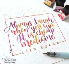 laughter is the best medicine - Sky Valley - Wallpapers desktop - Calligraphy Quotes Doodles, Brush Lettering Quotes, Brush Pen Calligraphy, Hand Lettering Styles, Handwritten Quotes, How To Write Calligraphy, Hand Lettering Quotes, Lettering Design, Lettering Ideas
