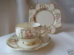 Vintage Art Deco Grosvenor China Trio Tea Cup Saucer Plate Jackson & Gosling