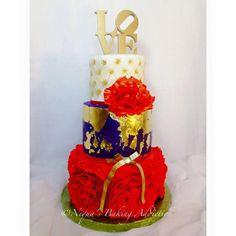 Gold Leaf Ruffle Red Wedding Cake