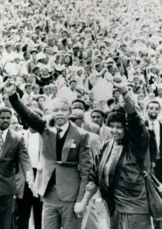It will be precisely 21 years tomorrow since Nelson Mandela, ANC leader and freedom fighter, was released from prison. Nelson Mandela Pictures, Winnie Mandela, Black Fist, Vintage Black Glamour, History Images, Black History Facts, Black Pride, Dancing In The Rain, African History