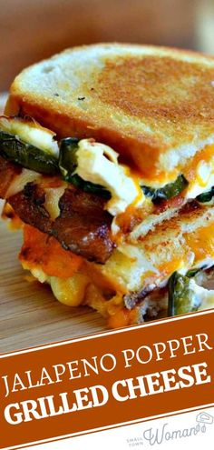 The ultimate comfort food with a spicy kick! Jalapeno Popper Grilled Cheese is one of the best you will ever have. Bite into a delectable combination of baked cream cheese filled jalapenos, gooey cheddar, Monterey Jack cheese, and crispy bacon! Save this and try it!