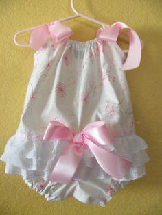 Baby Girl Romper Off White and Pink Floral by mariahcreations