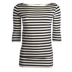 French Connection Womens Navy Toulouse Stripe 3/4 Sleeve Top ($23) ❤ liked on Polyvore