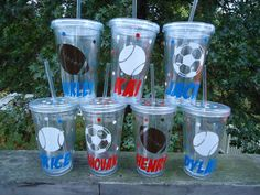 Acrylic tumblers: Personalized Sports acrylic tumblers - party favors - for the team - for banquets - set of 6