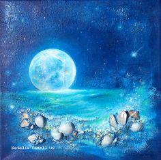 Tranquility, 12x12 inches Original Acrylic Painting, blue, full moon, crystals, seashells, nautical beach home decor, fantasy