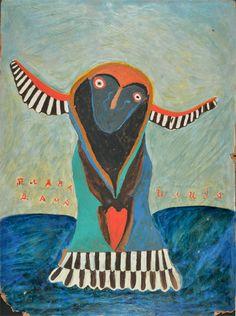 "Ilija (Bosilj) Bašičević. Blue Lady. 1967. Oil on cardboard. Signed ""Ilija,"" center right, and titled, center left. 27 1/2"" x 20 1/2"" (70 x 52 cm). From the series ""Birds,"" no. P-21. ""My Father Ilija,"" back cover."