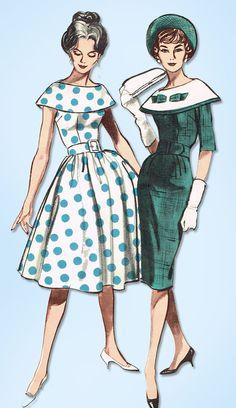 1950s Original Vintage Butterick Pattern 9031 Misses Dress w Cape Collar Sz 32 B #Butterick