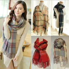 Plaid Blanket scarf with buttons Brandnew Scarves great for winter 2 way style Light weight  Available colors as shown in pictures  **Grey** **Navy blue** **Red** **Tan/Camel**  I dont trade Price furm Accessories Scarves & Wraps
