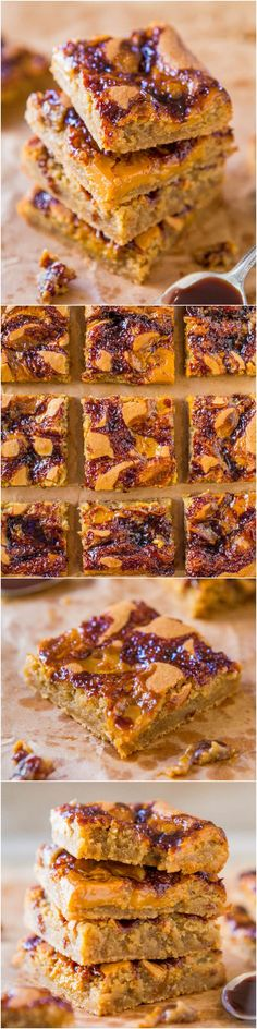 Hot Fudge and Salted Caramel Blondies