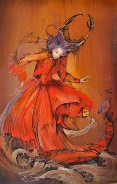 """Scorpio"" by Anne Bachelier: april 2015 Art Et Illustration, Illustrations, Art Scorpio, Surrealism Painting, Fairytale Art, Indigenous Art, Wonderland, Fairy Art, Beautiful Paintings"
