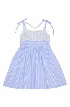 New Pippa Julie Seersucker Lace Sundress (Toddler Girls, Little Girls Big Girls). Fashion Girls clothing from top store Baby Girl Dress Patterns, Baby Clothes Patterns, Little Dresses, Little Girl Dresses, Girls Dresses, Toddler Dress, Toddler Outfits, Girl Outfits, Baby Frocks Designs