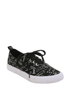 Science Print Lace-Up Sneakers, BLACK