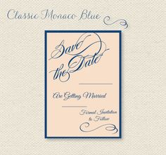 FREE Printable Save the Dates in Pantone's 2013 Monaco Blue and Linen via Wantthatwedding.co.uk