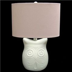 """19"""" White Owl Lamp with Pink Shade 