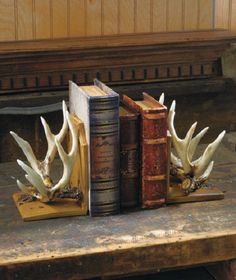 Deer Antler Bookends Wildlife Cabin Lodge Rustic Hunting Home Decor Book Ends #Lodge