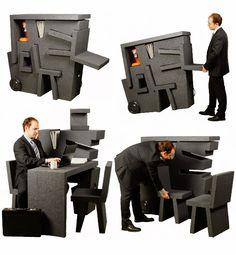Kruikantoor, 2009, Tim Kinke  thermoplastique, rotomoulage, prise d'électricité, roues, lampe, chaise; Fonctionnel, pratique, ludique, transportable(sur sol plat) produit inductriel, espace modulable, s'improviser un lieu de travail.