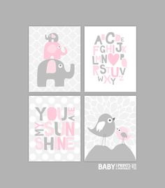 Nursery art prints Set of 4 11x14 Elephants by babyartprints, $68.00