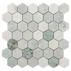 Caribbean Green Hexagon Marble Mosaic - 12in. x 12in. - 100052604 | Floor and Decor