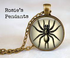 Black Spider by RosiesPendants on Etsy