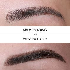 The Difference Between Microblading and Powder Effect. Microblading is the manual method of depositing pigment under the first layer of skin. For this technique, we use a special Microblading pen. The end of the pen holds a small combination of needles, making them look like a blade. With this special needle, technicians are able to draw thin lines to create an appearance of natural brow hairs. It looks so natural that you can't tell the difference between which hair is real or not…
