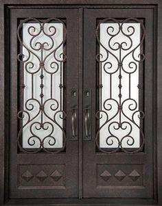 62x98 Victorian Iron Double Door. Beautiful wrought iron front entry door with grille from Door & Steel grill door design main entrance iron grill window door ... Pezcame.Com