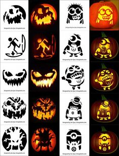 Free-printable-Scary-Halloween-Pumpkin-Carving-Stencils-with-Minion-Stencils #halloweenpumpkin