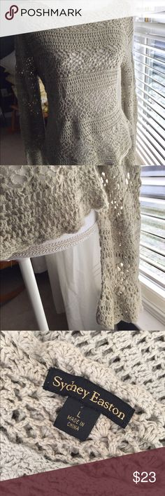 SALESydney Easton Crochet Sweater Sydney Easton tan crochet sweater. Great used condition. Sydney Easton  Sweaters