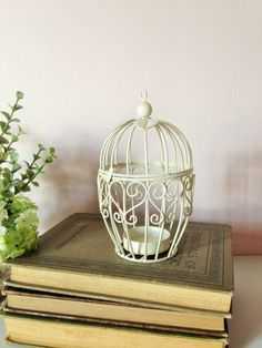 BIRD CAGE Candle Holder Shabby chic Decor by AnnmarieFamilyTree