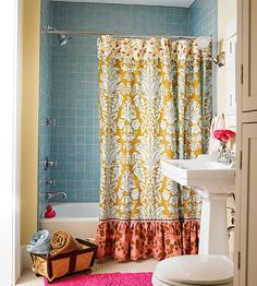 make a new shower curtain...love the mix of patterns in it