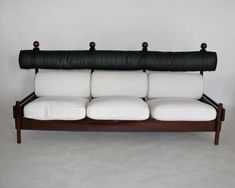 """Incredible sofa by Sergio Rodriguez from the """"Tonico"""" series for Oca. In Rodrigues opened Oca, which he referred to as """"the laboratory for Brazilian furniture and handicrafts"""". Rich jacaranda wood accompanied by black Main Entrance Door, Cushion Fabric, Living Room Sofa, Cushions, The Incredibles, Couch, Chair, Furniture, Black"""