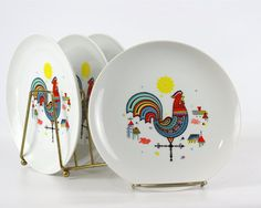 Vintage Berggren Rooster Plate Salad Plate by GizmoandHooHa