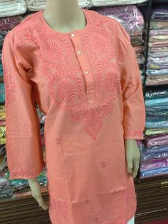 Cotten Kurti Lucknow Chikan Ghaas Patti Embroidery [*Sfq*] Chikankari Suits, Indian Wear, Handicraft, Kurti, Tunic Tops, Embroidery, Clothes For Women, Flower, Knitting