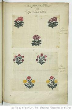 * Manufactures à Rouen // 1737 // Etoffes de fil et cotton : Toille // de Cotton brochée - Echantillons d'étoffes et de rubans recueillis par le Maréchal de Richelieu