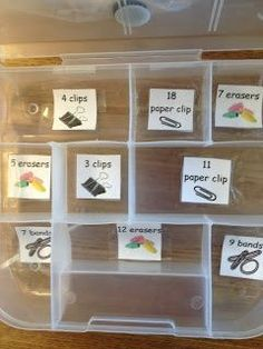 Sorting office supplies by numbers.  This is a great task that combines not only item recognition, but also counting.  All is one packaging and assembly task.  Perfect of a vocational or life skills setting.  Read more at:  http://autismtank.blogspot.com/2013/02/sorting-office-supplies.html