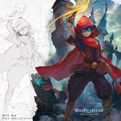 """Promotional Art for the game """"Wizard of Legend"""" - 2018 work Character Design References, Character Art, Fantasy Gifts, Painting Process, Mythical Creatures, Figure Drawing, Disney Art, Dungeons And Dragons, Concept Art"""