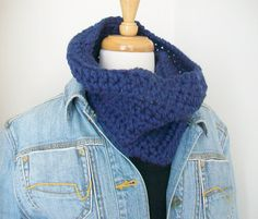 Faded denim Chunky cowl Circle scarf Cold weather by sammysgrammy
