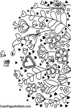 Hearts Coloring Page... perfect to paint on a ceramic or clay flower pot