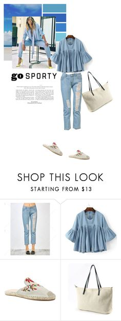 """Go sporty: denim"" by stellina-from-the-italian-glam ❤ liked on Polyvore featuring denim, jeans, summerstyle, espadrilles and shopwithstellina"