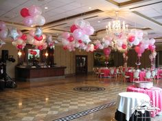 Balloon Clusters over Dance Floor - all hearts mom prom