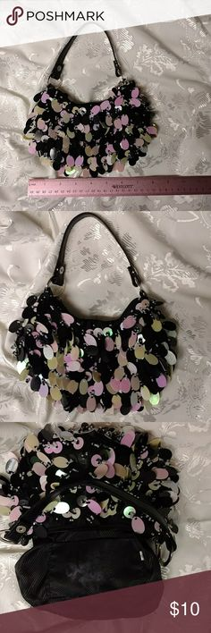 """Sequined evening bag Adorable small bag for a night out! Beads and sequins adorn this petite accessory. Bag measures 8"""" L x 4"""" H. Removable strap has 6"""" drop. Zips at top with one inside slip pocket. Lining is slightly discolored, but otherwise in good condition. Bags Clutches & Wristlets"""