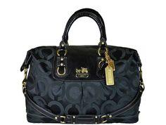 Coach - Nylon Monogram Handbag - Black