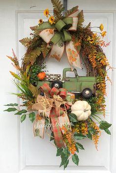 Fall Wreath, Fall Truck Wreath, Red Truck Wreath, Fall Grapevine Wreath, Sassy D. Christmas Wreaths For Front Door, Holiday Wreaths, Door Wreaths, Bridal Wreaths, Winter Wreaths, Floral Wreaths, Burlap Wreaths, Sunflower Wreaths, Spring Wreaths