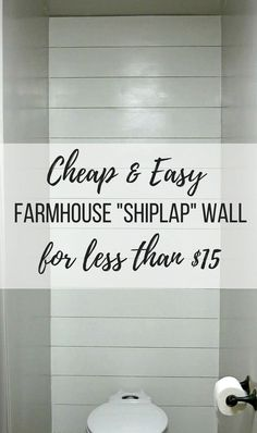 farmhouse bathroom Were going to walk you through the steps on how to install a faux shiplap wall on the cheap. Youll be amazed by the transformation the shiplap wall made. Boho Apartment, Cheap Home Decor, Diy Home Decor, Art Decor, Fixer Upper Style, Installing Shiplap, Faux Shiplap, Shiplap Diy, Fixer Upper Shiplap